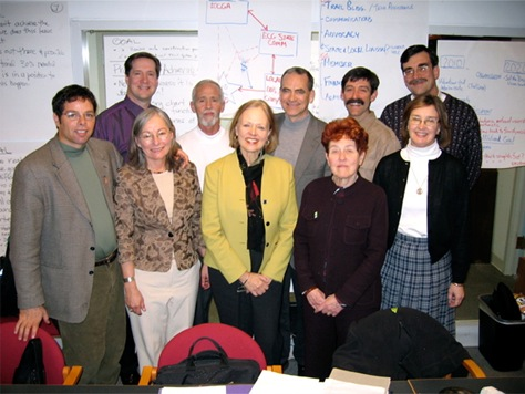 Chuck Flink, back row far left, led a 2004 strategic planning session for the reorganization of the East Coast Greenway Alliance.
